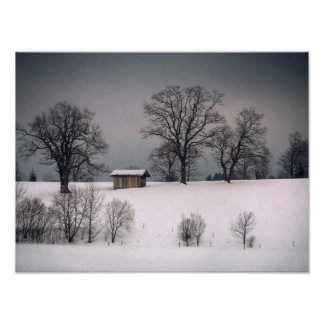 Winterszene, Hügel und Bäume, Hütte Poster