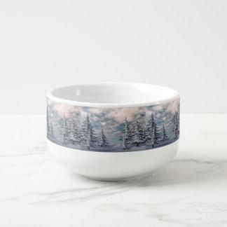 Wintertannenbaumlandschaft Große Suppentasse
