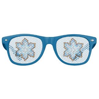 Winterurlaub-blaue Chanukka-Weihnachtsschneeflocke Retro Sonnenbrillen