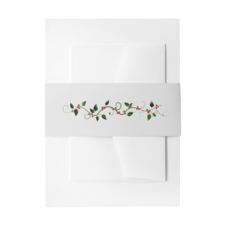 Winterurlaub-Hochzeits-Stechpalmen-Rebe-graues Einladungsbanderole