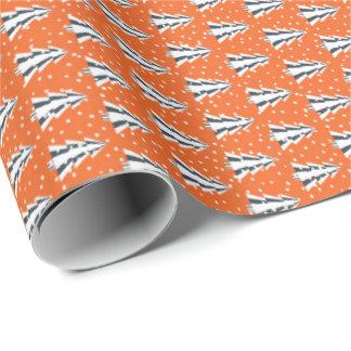 Winterwald orange, mattes Geschenkpapier