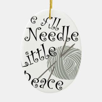 Wir alle Nadel wenig Friedensstrickende Kunst Keramik Ornament
