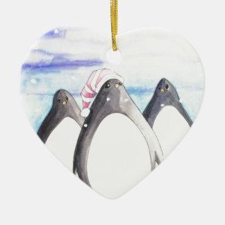 Wir drei Pinguine Keramik Herz-Ornament
