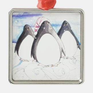 Wir drei Pinguine Quadratisches Silberfarbenes Ornament