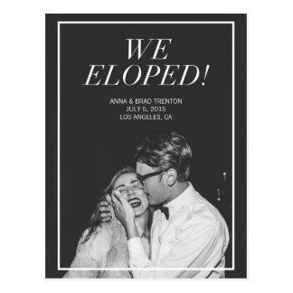 Wir Eloped | moderne Foto-Hochzeits-Mitteilung Postkarte