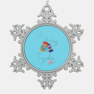 Wir gehören zusammen Schneeflocke-Verzierung Schneeflocken Zinn-Ornament
