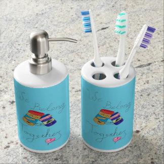 Wir gehören zusammen Zahnbürste-Schale u. Seifenspender & Zahnbürstenhalter