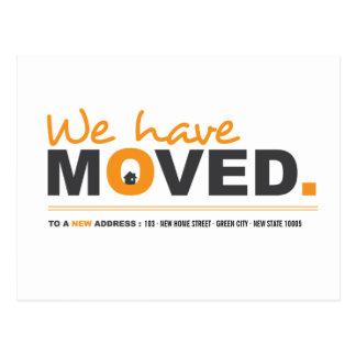 Wir haben orange bewegliche Mitteilungs-Postkarte Postkarte