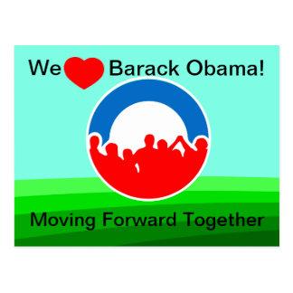 Wir Herz Barack, das sich vorwärts zusammen Bewegt Postkarte