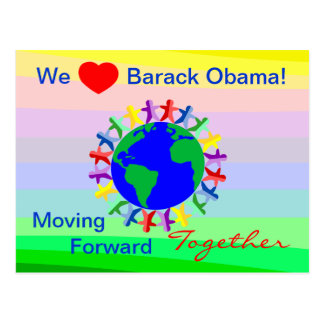 Wir Herz Barack, das Vorwärtsc$zusammen-abstimmung Postkarte