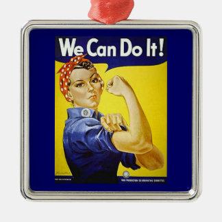 Wir können es tun! quadratisches silberfarbenes ornament
