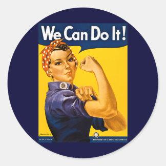 Wir können es tun! Rosie der Nieteneinschläger Runder Aufkleber
