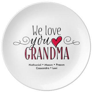 """""""Wir Liebe Sie Großmutter-"""" personalisierte Teller"""