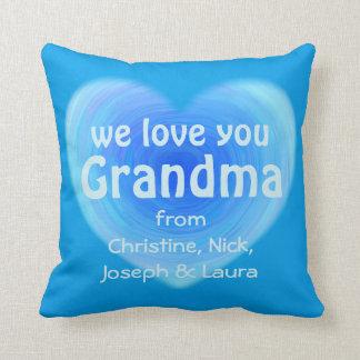 Wir Liebe Sie Großmutter-personalisiertes blaues Kissen