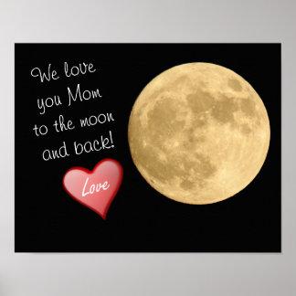 Wir Liebe Sie Mamma-Mond und Rückseite - Poster