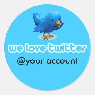wir Liebe-Twitter Runder Aufkleber