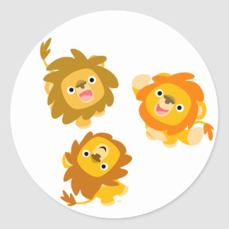 Wir sind hier Niedlicher Cartoon-Löwe-Aufklebe