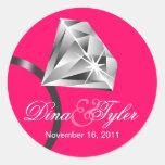 Wir sind verlobt! Save the Date Diamant-Ring-Aufkl Runder Aufkleber