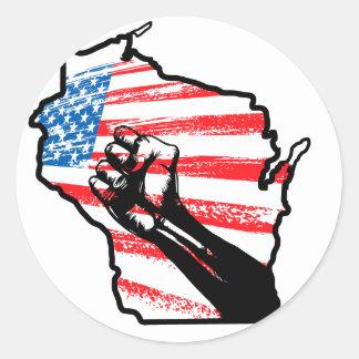 Wir sind Wisconsin Runder Aufkleber