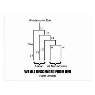 Wir stiegen ganz von ihr ab (mitochondrisches Eve) Postkarte