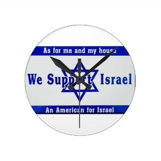 Wir stützen Israel Runde Wanduhr