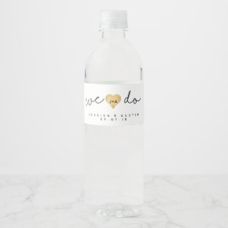 We Do Gold Heart Wedding Water Bottle Label