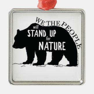 Wir, welche die Leute oben für Natur - Bär stehen Silbernes Ornament