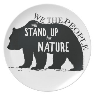 Wir, welche die Leute oben für Natur - Bär stehen Teller