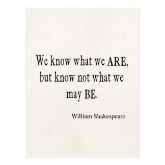 Wir wissen, dass was wir nicht sind, sein mag postkarte