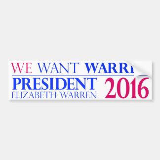 Wir wollen Waren - Elizabeth Waren für Präsidenten Autoaufkleber