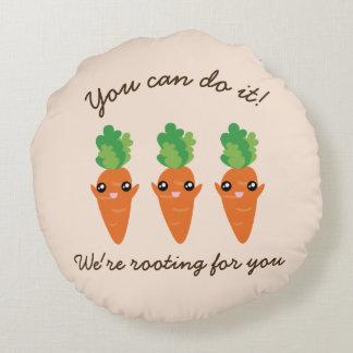 Wir wurzeln für Sie lustige aufmunternde Karotten Rundes Kissen