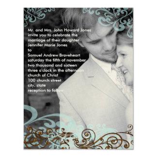Wirbel Ihr Foto-Hochzeits-Einladungs-Blau u. Brown Karte