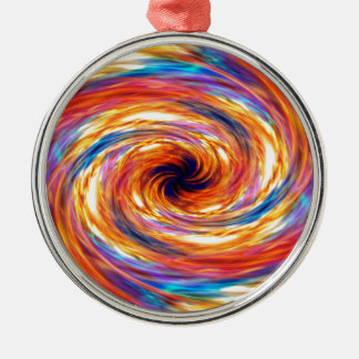 Wirbelnder Feuersturm Rundes Silberfarbenes Ornament