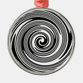 Wirbelndes Schwarzweiss-Muster Silbernes Ornament