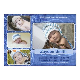 Wirble blaue Geburts-Mitteilung 12,7 X 17,8 Cm Einladungskarte