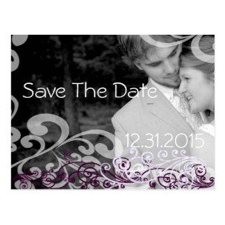 Wirble Foto-Save the Date Aubergine u. Beere Postkarte