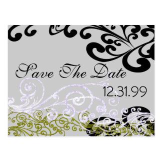 Wirbles Lila u. grün Save the Date Postkarte