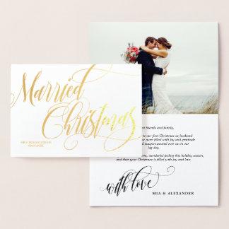 Wirbles verheiratetes Weihnachtshochzeits-Foto Folienkarte