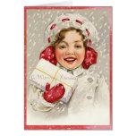 Wirklich niedliches Vintages frohe Weihnacht-Mädch Karten