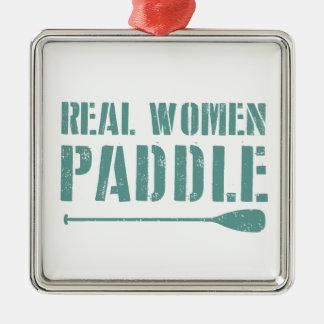 Wirkliche Frauen-Paddel Quadratisches Silberfarbenes Ornament