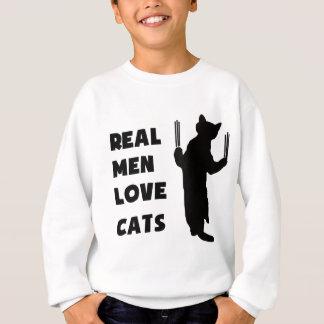 Wirkliche Mann-Liebe-Katzen (Schwarzes) Sweatshirt