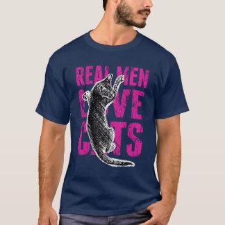 Wirkliche Mann-Liebe-Katzen-Scratchy Art T-Shirt