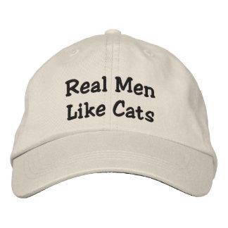 Wirkliche Männer mögen Katzen Bestickte Baseballkappe