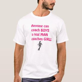 Wirklicher Mann-Trainer Mädchen-Basketball T-Shirt