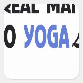 wirklicher Mann tun Yoga Quadratischer Aufkleber