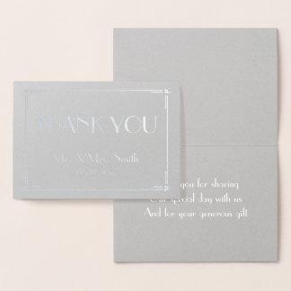 Wirklicher silberne Folien-Deko-graue Hochzeit Folienkarte