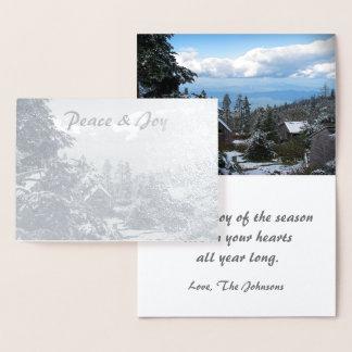 Wirklicher silberne Folien-Feiertags-Frieden u. Folienkarte
