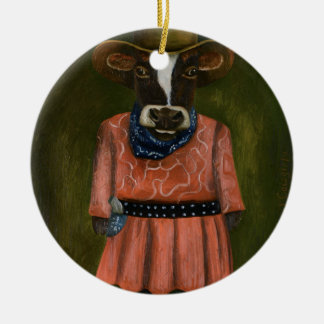 Wirkliches Cowgirl Rundes Keramik Ornament