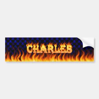 Wirkliches Feuer Charless und Autoaufkleber