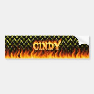 Wirkliches Feuer Cindy und Autoaufkleber
